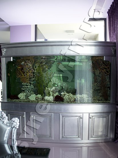 Aquarium of irregular shape, the height of the glass 1.5 meters